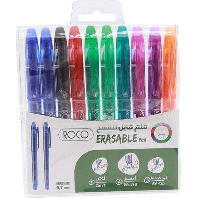 روكو قلم قابل للمحو ألوان متنوعة ،متوسط ،رأس حبر كروية ،10 أقلام